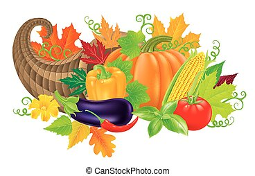 Cornucopia harvest - Cornucopia filled with fresh vegetables...