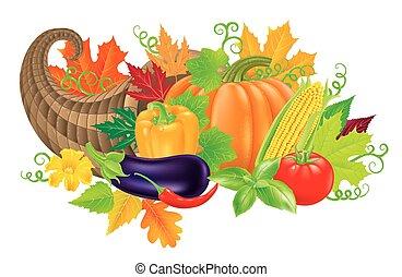 Cornucopia harvest - Cornucopia filled with fresh...