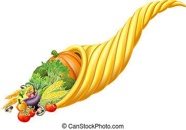 Illustration of thanksgiving or harvest festival cornucopia horn full of fresh produce food
