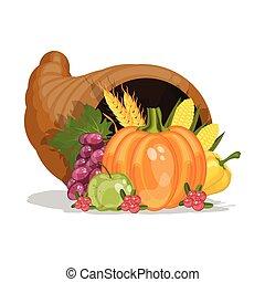 Cornucopia. Horn of plenty. Harvest. Cartoon vector illustration for Thanksgiving day.