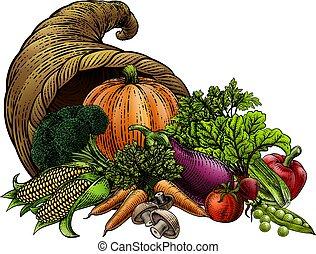 Cornucopia Horn Produce Vegetables Vintage Woodcut