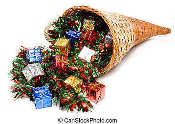 Cornucopia - A cornucopia filled with holday Christmas...