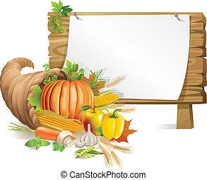cornucopia, tabla, de madera