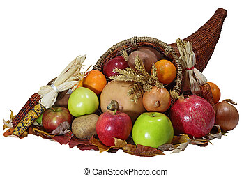 Cornucopia - Thanksgiving cornucopia horn of plenty with...