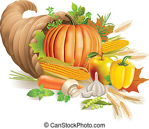 Thanksgiving horn of plenty filled with harvest. Contains transparent object. EPS 10.