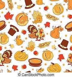 Cornucopia Thanksgiving Pumpkin Turkey Corn Seamless Pattern...