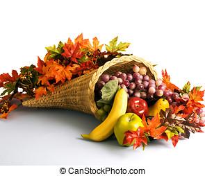 Cornucopia, the horn of plenty - A cornucopia, filled with...