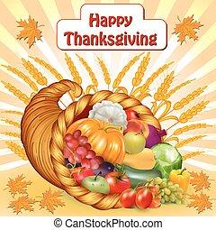 cornucopia, vegetal, fruits, tarjeta, acción de gracias
