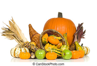 Cornucopia with fall harvest items including pumpkins, gords...