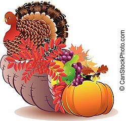 Cornucopia with Turkey bird