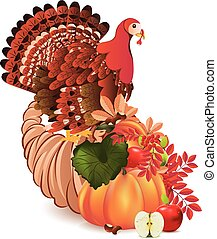 Cornucopia with Turkey bird - Traditional Thanksgiving horn...