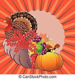 Cornucopia with Turkey bird