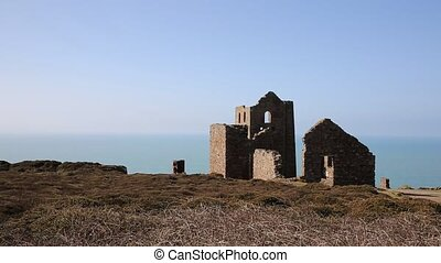 Cornwall coast and old tin mine England UK near St Agnes...