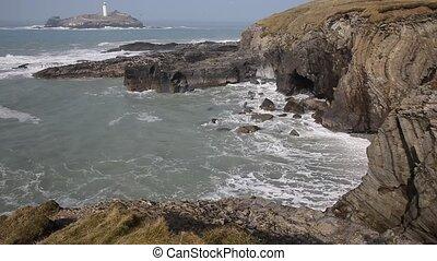 Cornwall coast Godrevy lighthouse