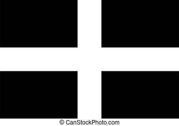 Cornwall - Kernow flag in proportions and colors vector - ...