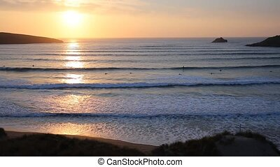 Cornwall sunset with surfers uk - Sunset in Cornwall with ...