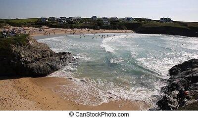 Cornwall swimmers surf and waves - Treyarnon Bay Cornwall ...
