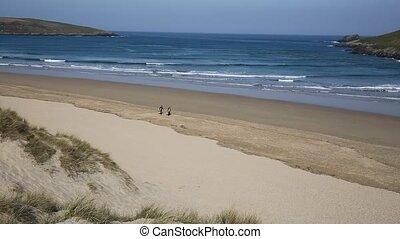Cornwall UK Surfing beach Crantock - Crantock bay and beach ...