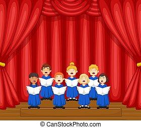 coro, bambini, canzone, canto, palcoscenico