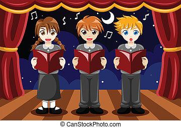 coro, cantando, crianças