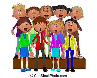 coro, crianças, cantando