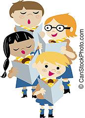 coro, crianças, chanting