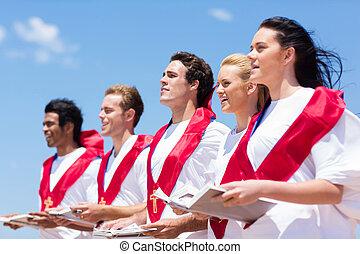 coro, igreja, cantando, ao ar livre