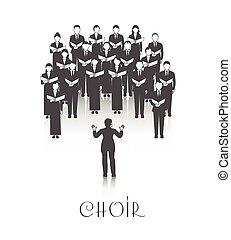 coro, imagen, peroforrmance, negro