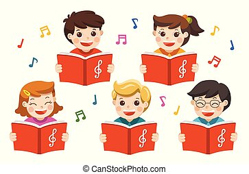 coro, meninos, song., meninas, cantando