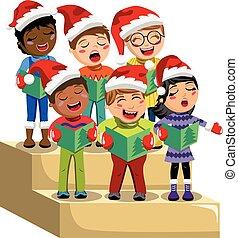 coro, sombrero, navidad, contrahuella, aislado, niños, canto, villancico, navidad, multicultural