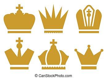 coroa, ícones, cobrança