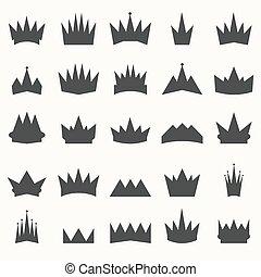 coroa, ícones, set., heraldic, projete elementos