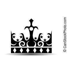 coroa, branca, isolado, fundo
