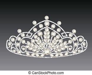 coroa, cinzento, mulheres, fundo, casório, tiara