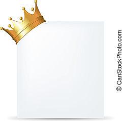 coroa dourada, cartão, em branco