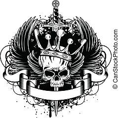 coroa, espada, cranio, asas