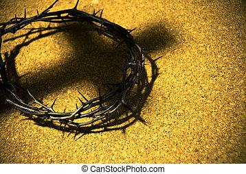 coroa espinhos, com, sombra, de, crucifixos