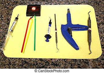 coroa, ferramentas dentais, enchimento