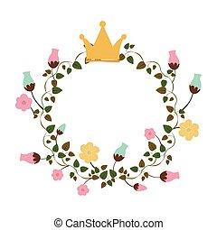 coroa, flores, ornamento, coloridos, rastejadores