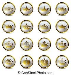 coroa, jogo, tiara, ícones