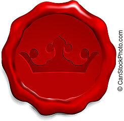 coroa, ligado, selo cera