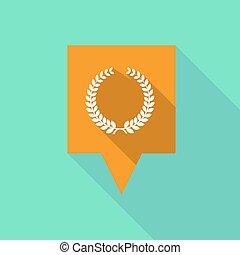 coroa, longo, sinal, tooltip, laurel, sombra