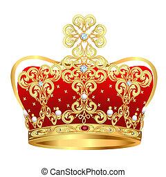 coroa, ornamento, real, jóias, ouro