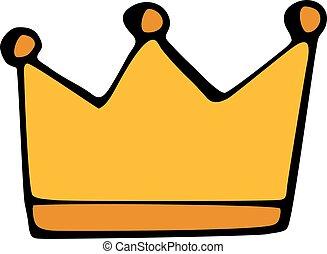 coroa ouro, isolado, experiência., branca, ícone