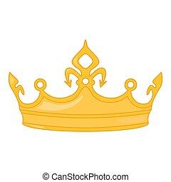coroa ouro, isolado, fundo, branca, brilhante
