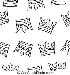 coroa, tema, desenho, cobrança, padrão