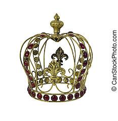 coroa, vermelho, pedra preciosa, embellished