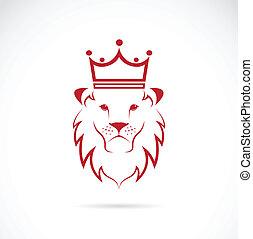 coroado, imagem, vetorial, leão