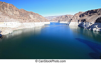 Corolado River at Lake Mead from Hoover dam Arizona and Nevada border, USA
