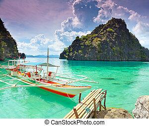 Coron lagoon - Tropical lagoon on the way to Kayangan lake. ...